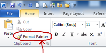 Screenshot of the Word Format Painter toolbar.