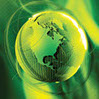 Stock photo of a green globe.